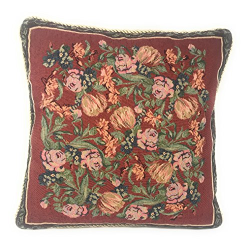 DaDa Bedding Throw Pillow Cover - Victorian Luxury Elegant Field of Roses Red Floral 1 Piece Tapestry Decorative Cushion Cover- 18' x 18'