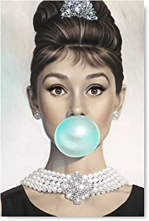 Funny Ugly Christmas Sweater Audrey Hepburn Blowing Bubble Gum Poster Old Movie Star Fashion Illustration for Office Decor 24