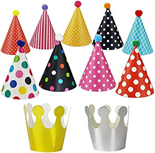 Knowing 11pcs Sombreros Cumpleaños Fiesta con Pompones,Decoración Colorido Party Celebrar para Niños Adultos,Fun Birthday Jamboree Party Sombreros