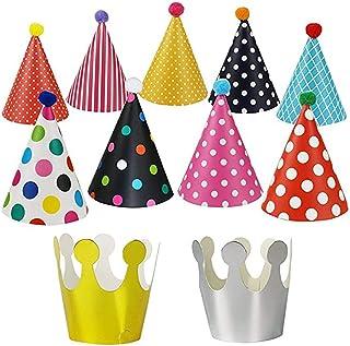 Knowing 11pcs Sombreros Cumpleaños Fiesta con Pompones,Decoración Colorido Party Celebrar para Niños Adultos,Fun Birthday Jamboree Party Sombreros