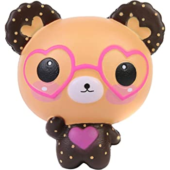 AOLIGE  Kids Party Decorations Squishies Slow Rising Jumbo Kawaii Cute Glasses Bear Creamy Scent Stress Reliever Toy