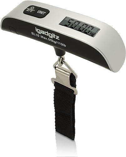 igadgitz Xtra U3185 50 Killogram 50 gram Digital LCD Portátil Báscula Balanza Equipaje Maleta Bolsa con Termómetro