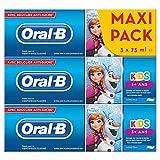 Oral-B Kids Disney, La Reine Des Neiges Dentifrice, Fluor, 3 Ans et Plus, Arôme Doux, Dentifrice sans Sucre, Lot de 3x75 ml