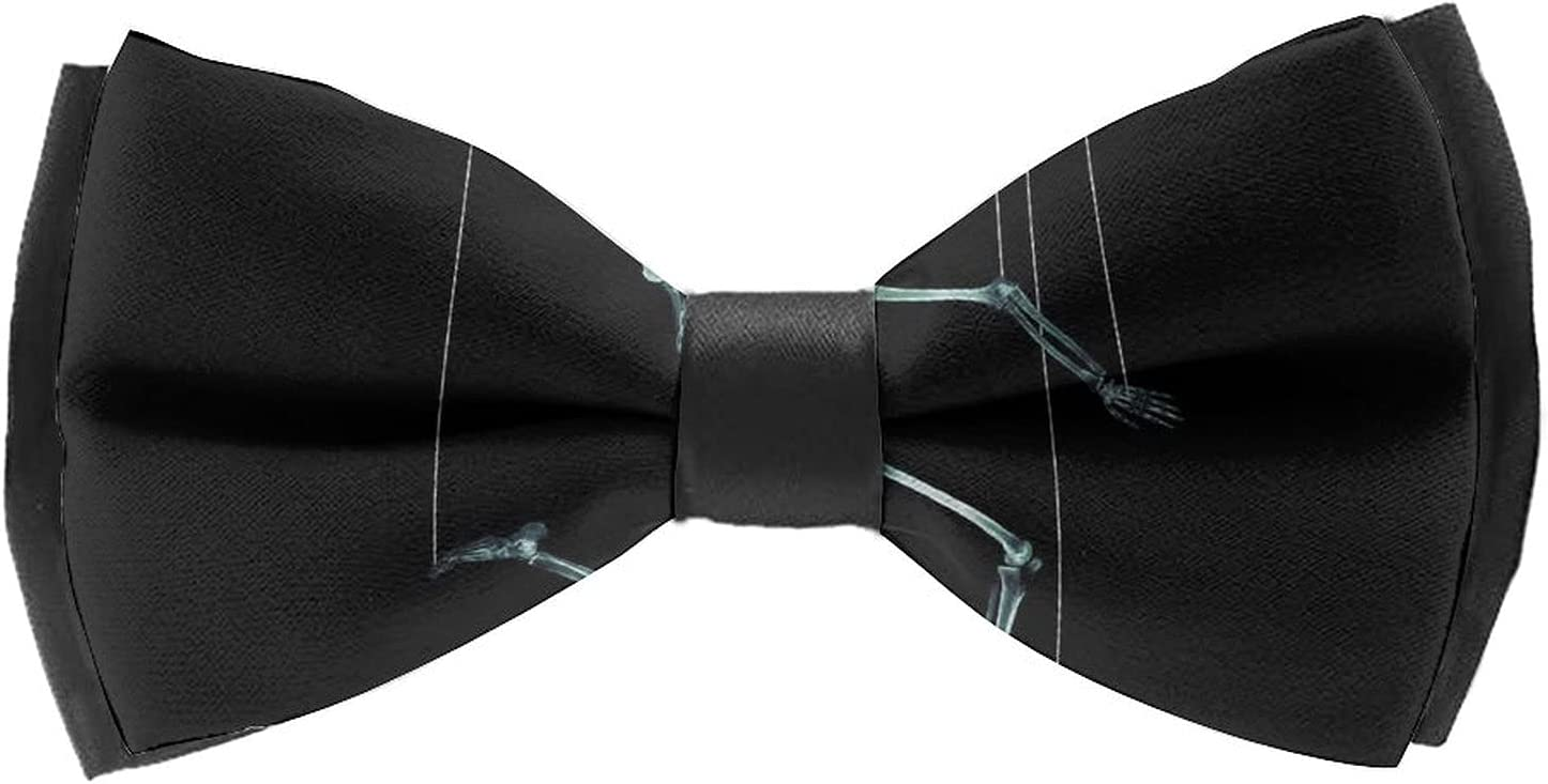 AMRANDOM Men Boys Solids Bow Tie Woven Self Tie Bowties Adjustable Length Large Pre-Tied Bow Tie Variety Colors Available for Tuxedo & Wedding (X Ray Skull Skeleton Black)