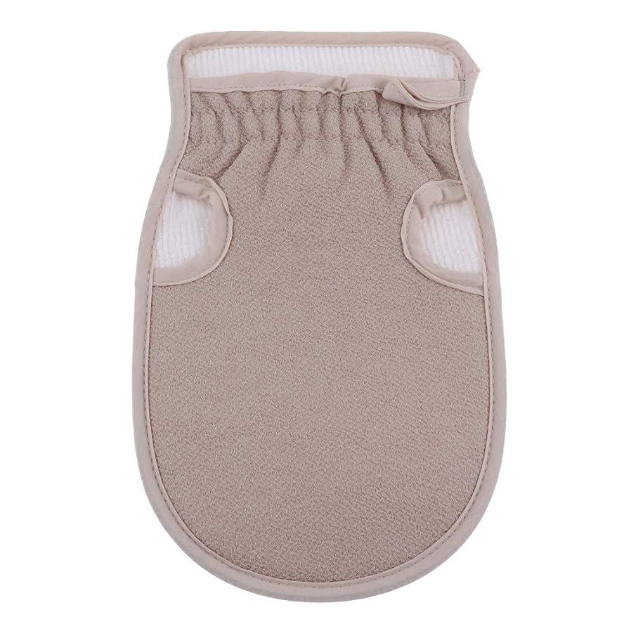 誓約ベーシックまろやかな浴用手袋 ボディタオル 入浴用品 バス用品 垢すり手袋 毛穴清潔 角質除去 両面デザイン 全4色 - グレー