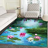 Nature Floor Mat Pattern Fantasy Pond with Water Lilies Floating Romantic Lotus Fairy Tale Digital Art Living Dinning Room & Bedroom Mats 5'x6' Aqua Pink Green
