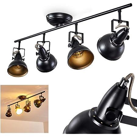 Plafonnier Tina en métal noir et or, luminaire de plafond à 4 spots orientables pour ampoules E14 max. 40 Watt, compatible ampoules LEDs