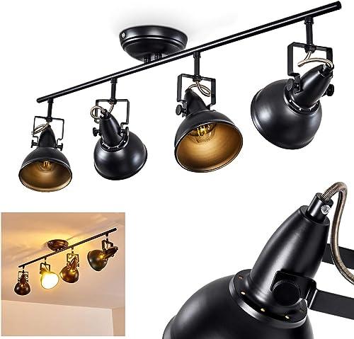 Plafonnier Tina en métal noir et or, luminaire de plafond à 4 spots orientables pour ampoules E14 max. 40 Watt, compa...