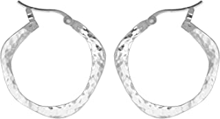 Jewelry Sterling Silver Organic Hammered Texture Snap Down Hoop Earrings