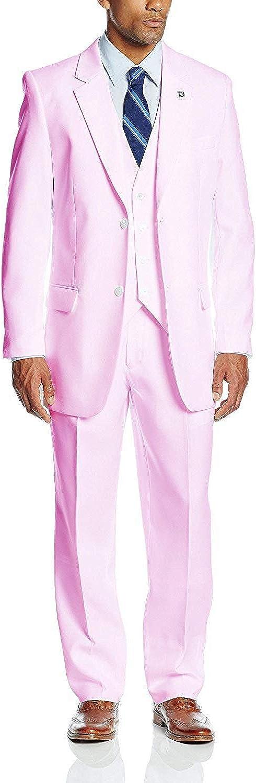 GATMSTZ Men's Notch Lapel 3 Pieces Wedding Suit Big and Tall Tuxedo Vest Pants (Pink,60R)
