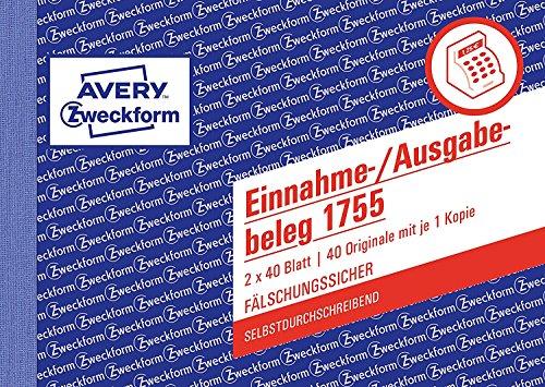 Avery Zweckform 1755 Einnahme-/Ausgabebeleg (A6 quer, selbstdurchschreibend, 2x40 Blatt) weiß/gelb (Softcover, 5er Pack)