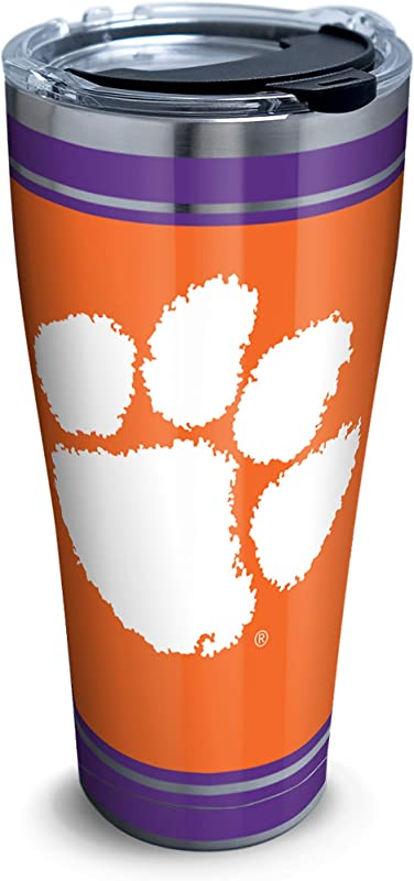 Tervis 1320288 Clemson Tigers Campus Stainless Steel Insulated Tumbler With Clear And Black Hammer Lid 30 Oz Silver