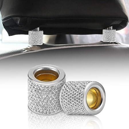Debeme Kristall Auto Sitz Kopfstütze Halsband Dekor Charms Diamant Bling Auto Innenraum Zubehör Für Frauen Strass Universal 4pcs Auto