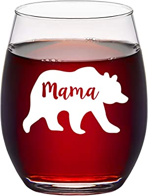 Mama Bear Stemless Wine Glass for Mother's Day Birthday Christmas, Funny Mother Wine Glass for New Mom Friend Wife Women Mom To Be, 15 Oz