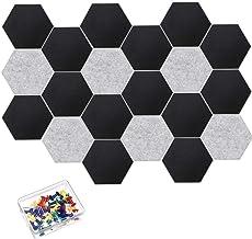 Cork Board Tiles Bulletin Board, 20Pcs Hexagon Felt Memo Board, Cute Picture Pin Board with 40 Pcs Push Pins, Decoration f...