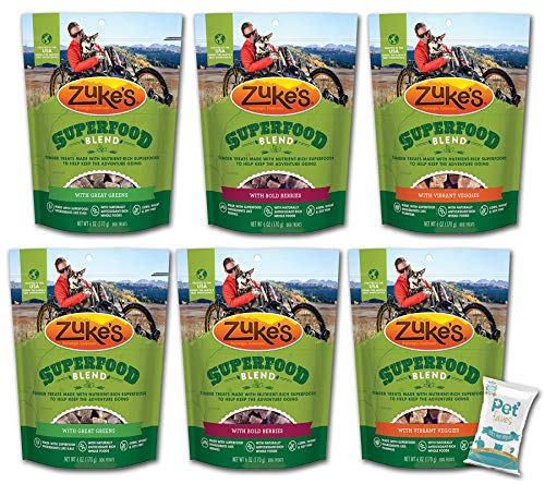 (6 Pack) Zuke Superfood Blend Veggie Dog Training Treats Variety Pack (6oz Each)- Great Greens (2), Bold Berries (2), Vibrant Veggies (2) with Pet Faves 10ct Pet Wipes