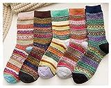 FOSTUDORK Las mujeres del invierno Calcetines 5 pares de otoño invierno de las señoras calcetines de lana a rayas Medias japonesa espesar y calcetines calientes Wo