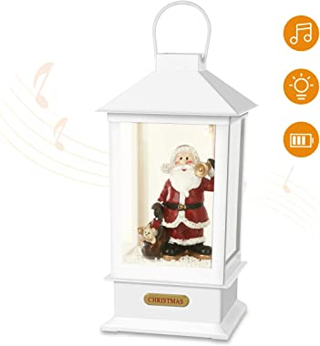 Yurnero Christmas Lanterns Decorative with Snow Christmas Musical Decorations Battery Operated Snow Globe Light Up Santa Claus for Home and Gift 13'' White(Battery Not Included)