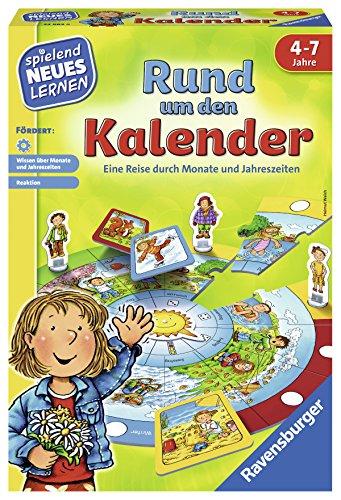 Ravensburger 24984 - Rund um den Kalender - Spielen und Lernen für Kinder, Lernspiel für Kinder von 4-7 Jahren, Spielend Neues Lernen für 2-4 Spieler