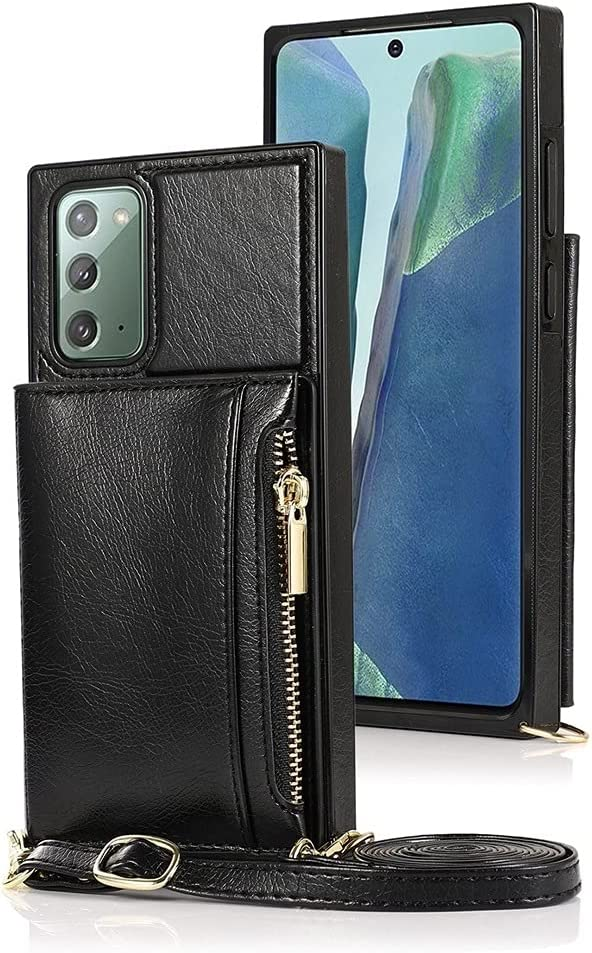 Case for Samsung Galaxy Note 20, Zipper Wallet Case with Credit Card Holder/Crossbody Long Lanyard, Shockproof Leather TPU Case Cover for Samsung Galaxy Note 20 (Color : Black)