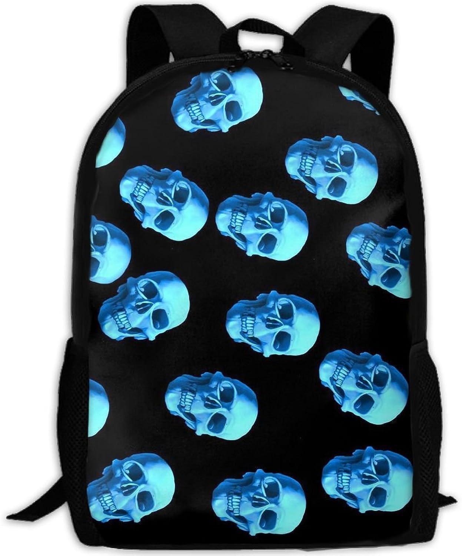 Backpack Briefcase Laptop Travel Hiking School Bags Skulls bluee Daypack Shoulder Bag