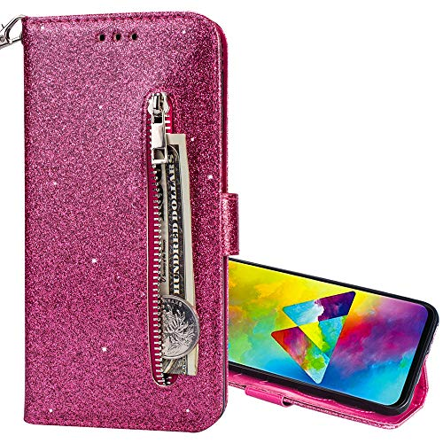 Nadoli Wallet Case for Huawei Y6 2019,Zipper Card Pockets Design Bright Sparkle Glitter Wrist Strap Bookstyle Magnetic Closure Bling Flip Cover for Huawei Y6 2019