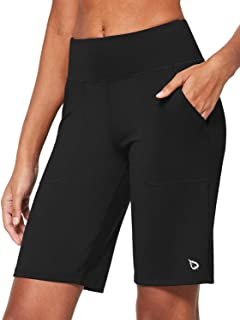 BALEAF Women's 10'' Athletic Mid High-Wasited Bermuda Shorts Running Long Shorts Lounge Yoga Workout with Pockets