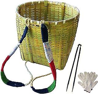 竹製背負いかご 丸型(大)広口ワイドタイプ