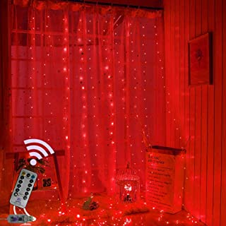 Curtain Lights, USB Powered Fairy Lights String, 8 Modes Twinkle Lights for Parties, Bedroom Wedding,Valentines' Day Wall Decorations (300 LEDs,9.8x9.8Ft, RED)