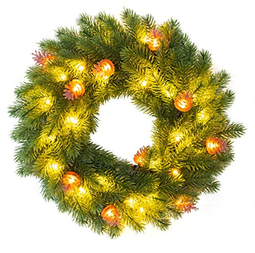 FUNPENY Pre-lit Artifical Pin Cones Christmas Wreath, 40 LED 16 Inch Pine Cones Christmas Wreath with Hanger Artificial Holly Leaves Xmas Wreath for Home Party Indoor and Outdoor Use
