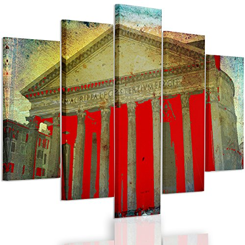 Feeby Frames, canvasfoto, afbeeldingen, wandafbeelding - 5 delen - wandafbeeldingen, kunstdruk, XXL, oude ansichtkaart, Sepia, Vintage PANTEON, ROM, ROOD, A type, 140x300 cm