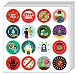 Creanoso Stop Virus Stickers (5-Sheet) - Stocking Stuffers Premium Quality Gift Ideas for Children, Teens, Adults - Corporate Giveaways & Party Favors