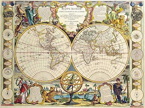 The Museum Outlet - Kunstansichtkaart - Wereldkaart voor dubbel halfrond, Jean Baptiste Nolin 1755 - Set van 12 ansichtkaarten