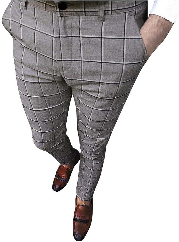 Men Trousers Slim Fit Pants Plaid Track Pants Striped Plaid Flat Front Dress Pants Business Pants