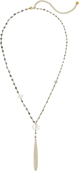 Chan Luu 18K Gold Plated Sterling Silver Necklace with Semi Precious Stones and Bone