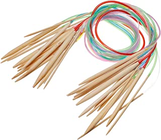18 Pairs Agujas de Punto Circular, Kit Tubo de bambú Agujas de Ganchillo de Colores de Tejer 18 Tamaños: 2 mm-10 mm 24 Pul...