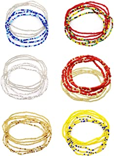 Ytzada Waist Beads Body Chains for Women, Colorful African Waist Beads Bell Chains Necklace Bracelet Anklet Bikini Jewelry (12 PCS)
