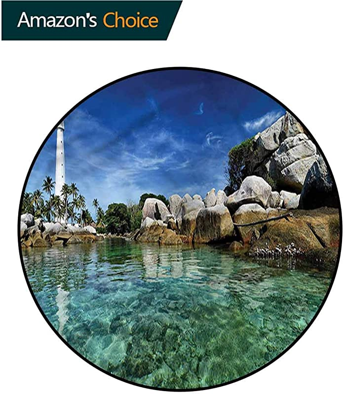 RUGSMAT Lighthouse Non Slip Area Rug Pad Round Building Clear Waters Non Slip Rug Round 31