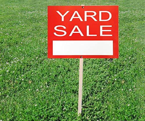 Yard Sale Sign Card -Red Garage Sale Yard Street Signs-Paper Card 9 x 12 inch Store Sale Sign for Holiday Sale Events, Pack of 10