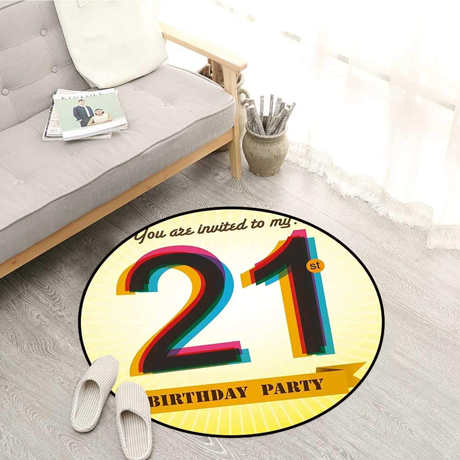 21st Birthday Non-Slip Rugs Invitation to an Amazing Birthday Party on a golden colord Backdrop Image Sofa Coffee Table Mat 3'11  Multicolor