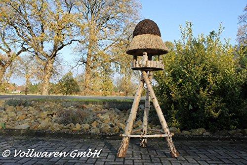 REETDACH VOGELVILLA MASUREN 4 BIRKE 180x57x57 Vogelhaus Futterhaus mit Ständer - 3