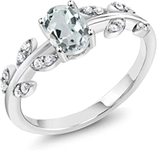 Sterling Silver Sky Blue Aquamarine Olive Women's Vine Ring 0.93 cttw Oval Gemstone Birthstone Available 5,6,7,8,