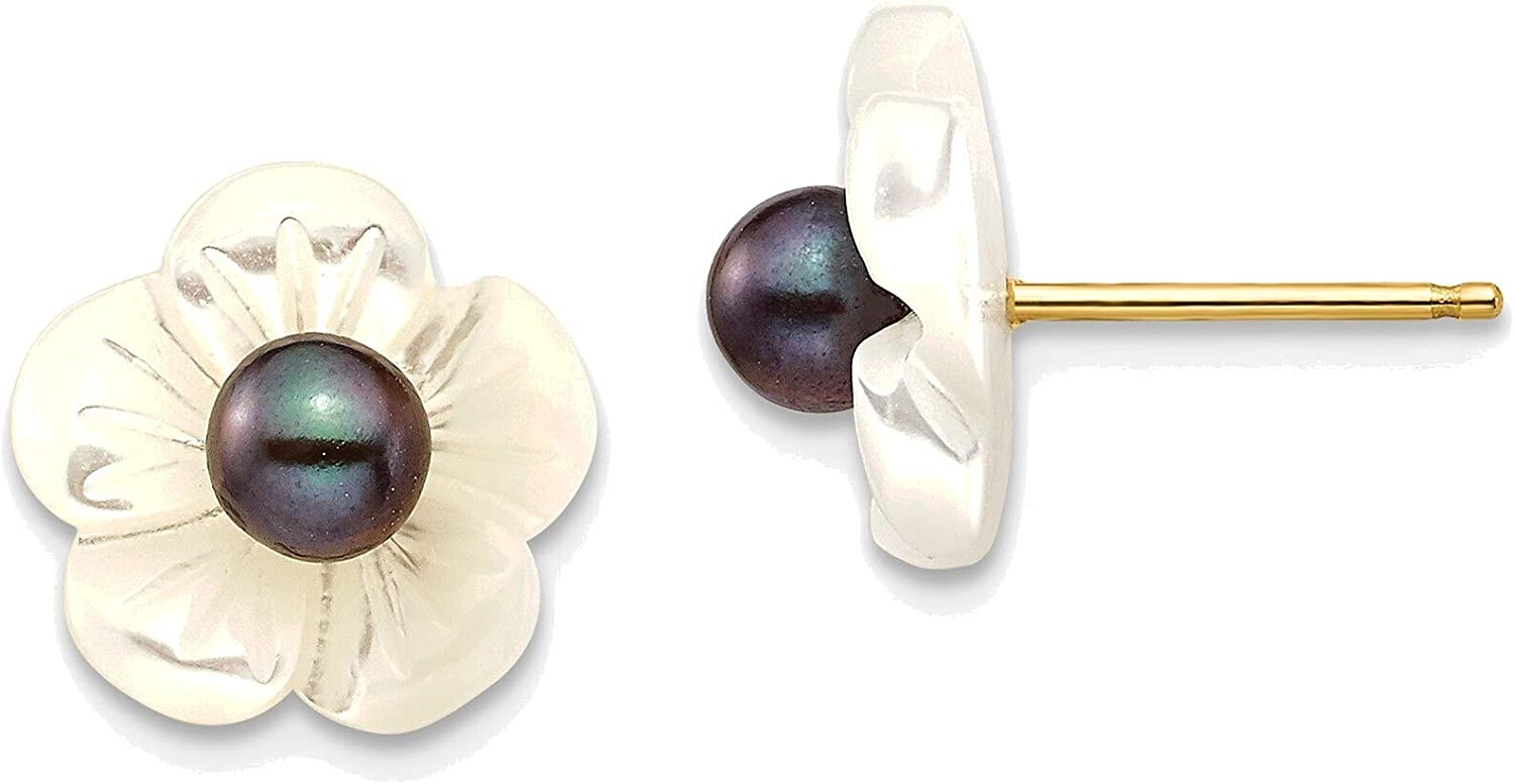 3-4mm Black Freshwater Cultured Pearl with 10 mm MOP Flower Post Earrings in 14K Yellow Gold