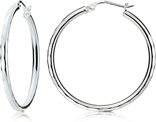 Sterling Silver 2mm Hammered Round Hoop Earrings, All Sizes
