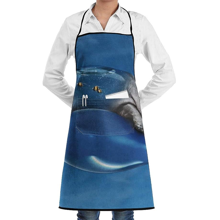 Kitchen Chef Bib Apron Hippo Balloon Sky Neck Waist Tie Center Kangaroo Pocket Waterproof