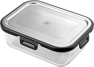 IDEALCRAFT Food Storage Container,4 Cup Bento Boxes with Premium 316 Stainless Steel Lid and Leak Proof Glass Meal Prep Fr...