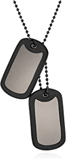 JewelryWe 2pcs Dog Tag Necklace Polished Military Tags Plate Pendant with Chain for Men,Free Engraving