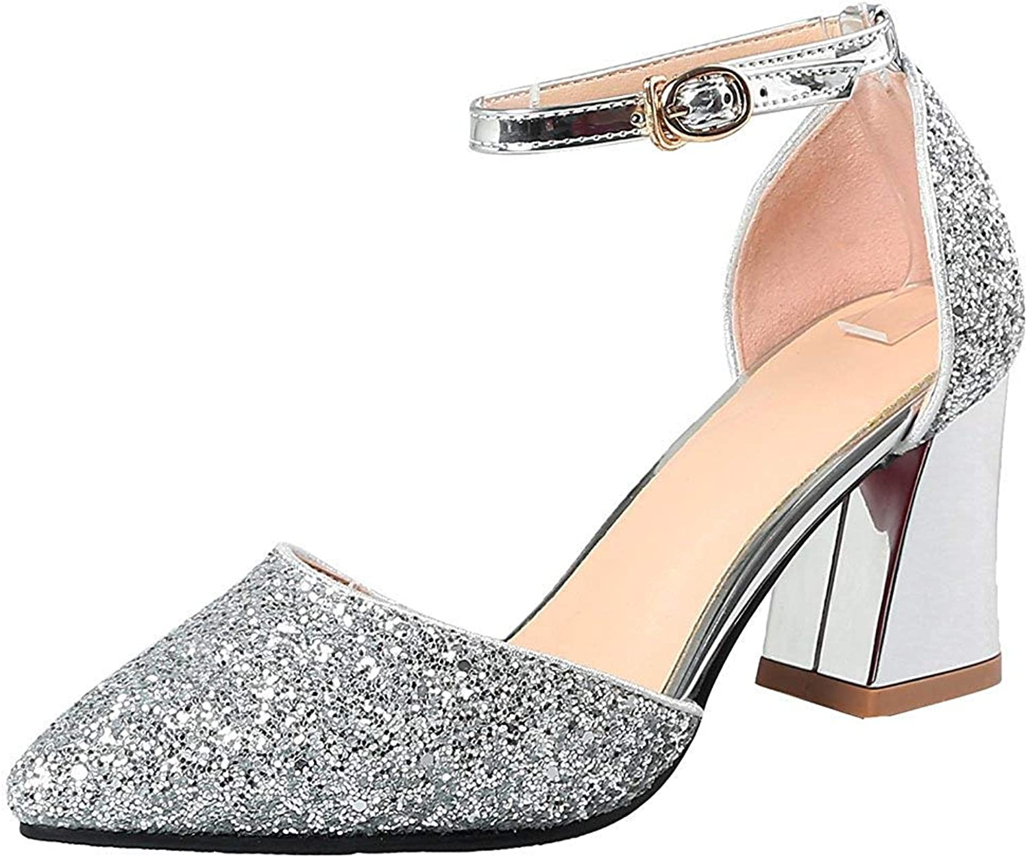 Gcanwea Women's Fashion Sequins Ankle Strap Sandals - Glitter Pointed Toe Cut Out - Buckle Block Medium Heels Bridal shoes Silver 4.5 M US
