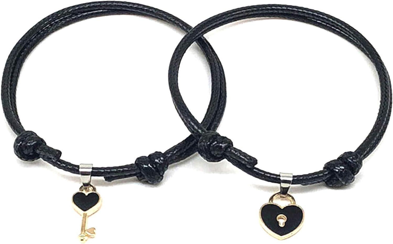 Couples Bracelets,1 Pair Couple Bracelet Chic Adjustable Resin Key Heart Lock Chain Bangle for Dating