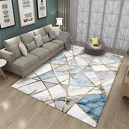 Alfombras Salón Fácil De Mantener Azul Gris Moderno con Geometría De Línea Marrón Home Salon Dormitorio Cocina Oficina Tapetes Alfombra 140X200cm